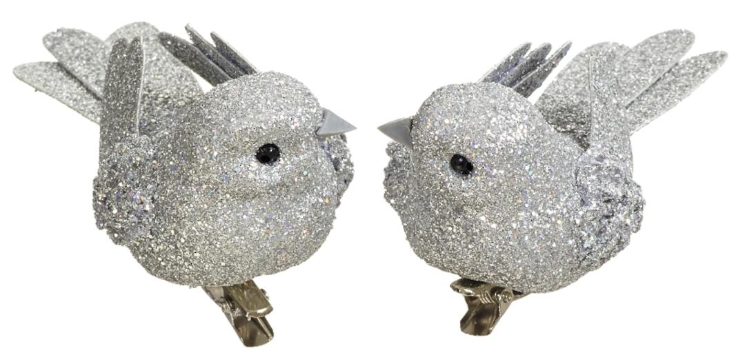 BirdClip Silver Glitter 10cm image 0