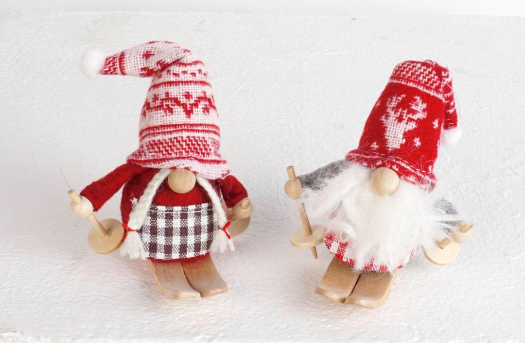 Plush Sking Mini Santa, Snowflake Hat image 0