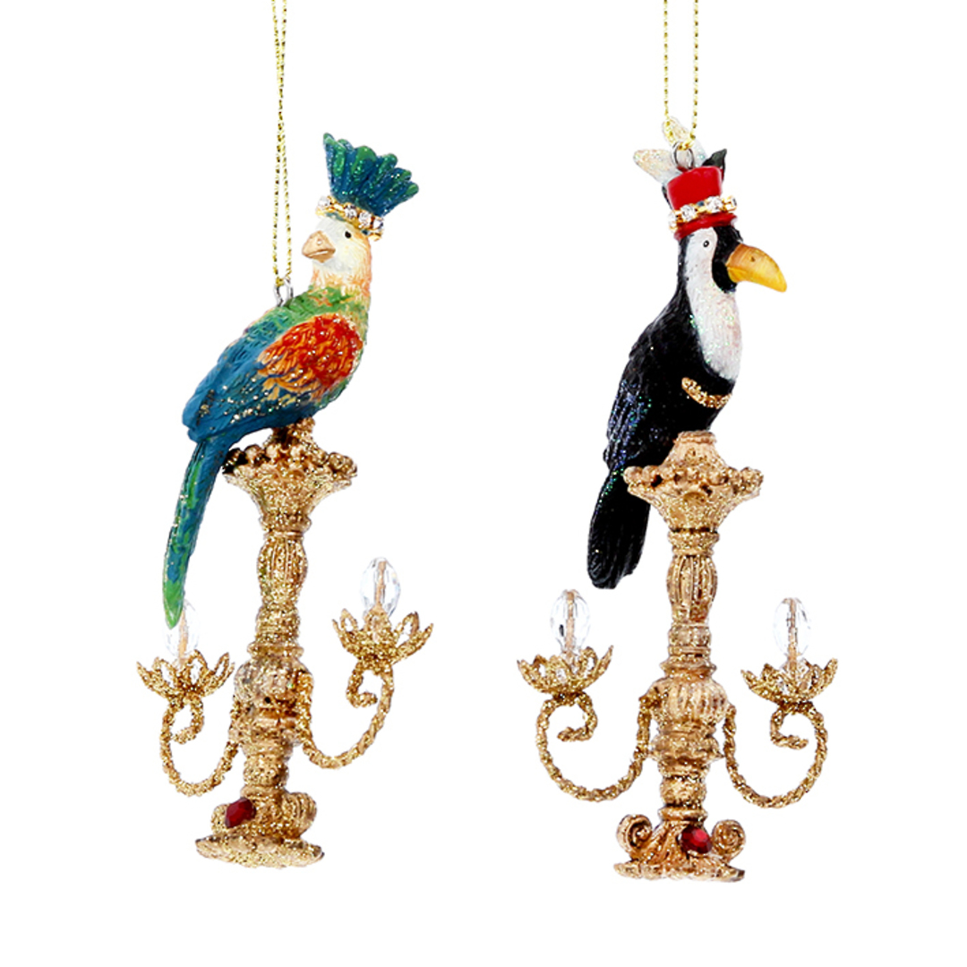 Resin Bird on Candelabra 10cm image 0