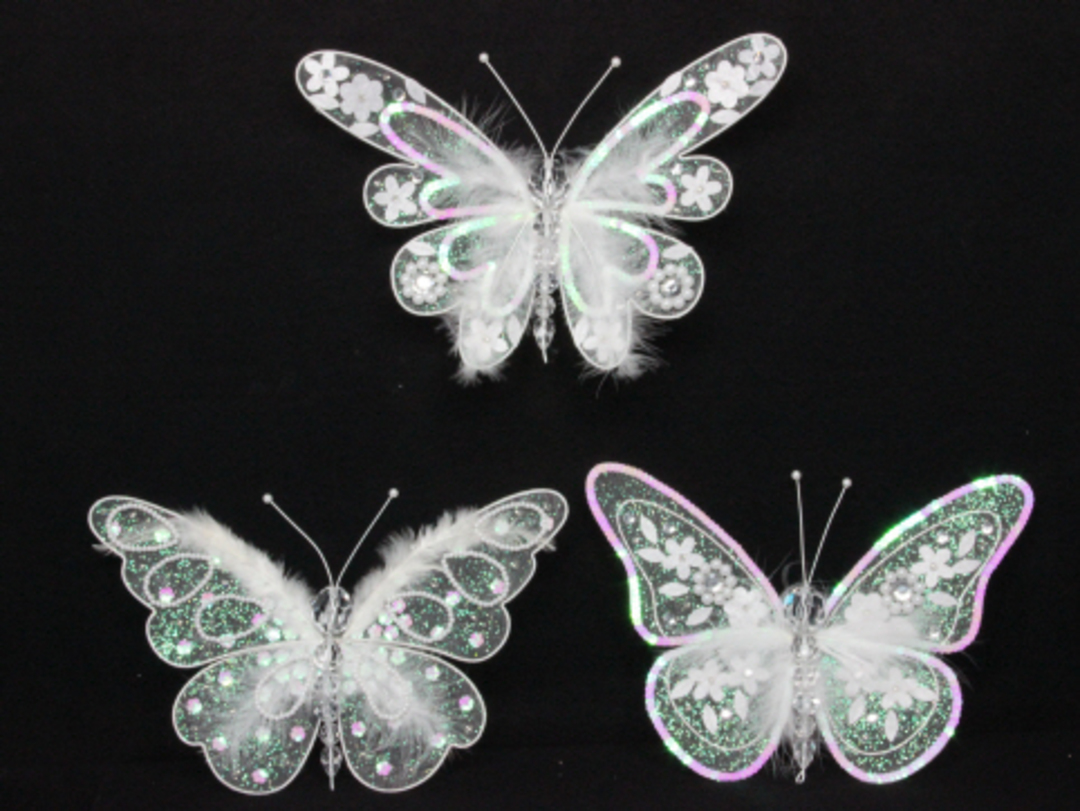 Iridescent Sequin & Feather Butterfly Clip Lge image 0