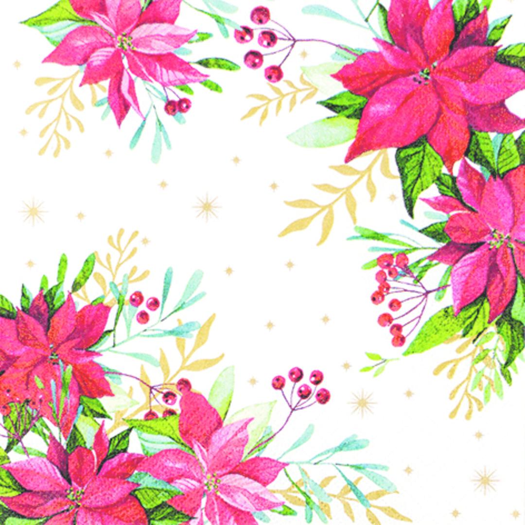 Paper Napkins 33cm, Traditional Poinsettia image 0