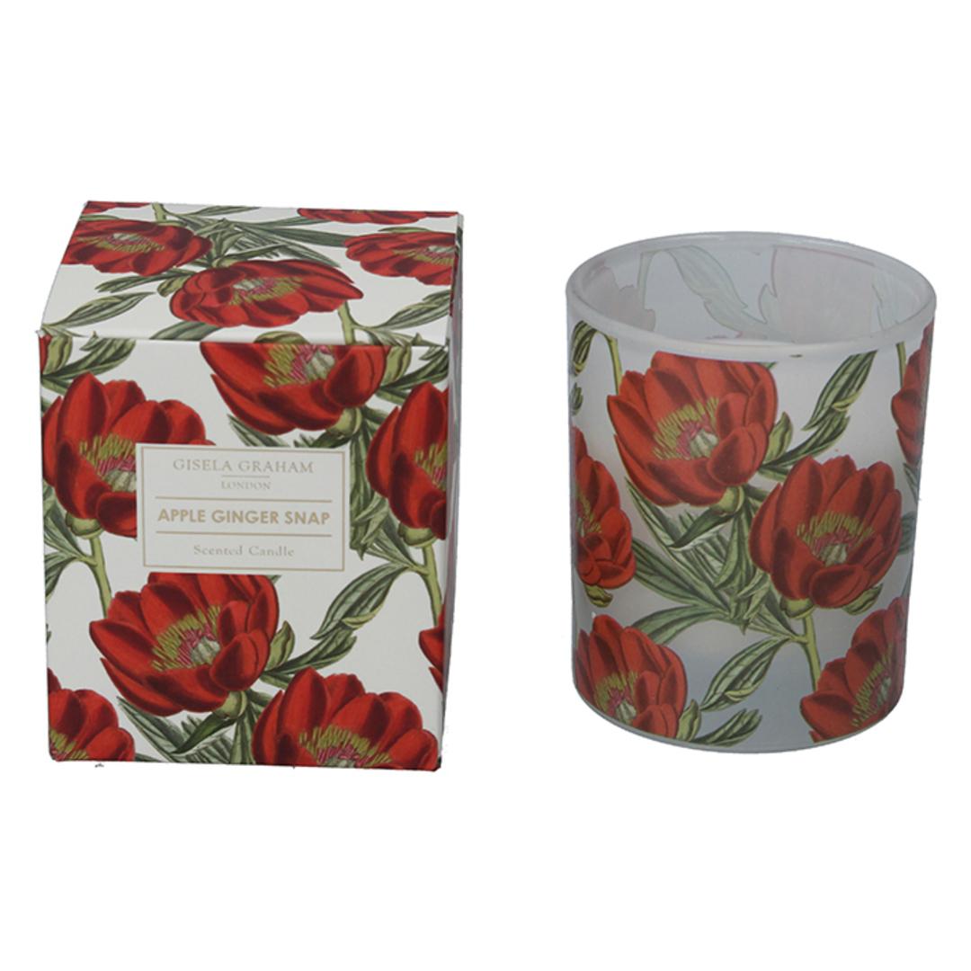 Red Xmas Rose, Candle Jar 10cm image 0
