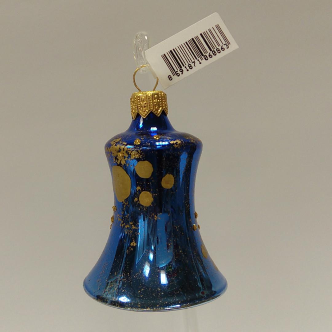 Glass Bell Metallic Blue, Matt Gold Dots and Decor 8cm image 0