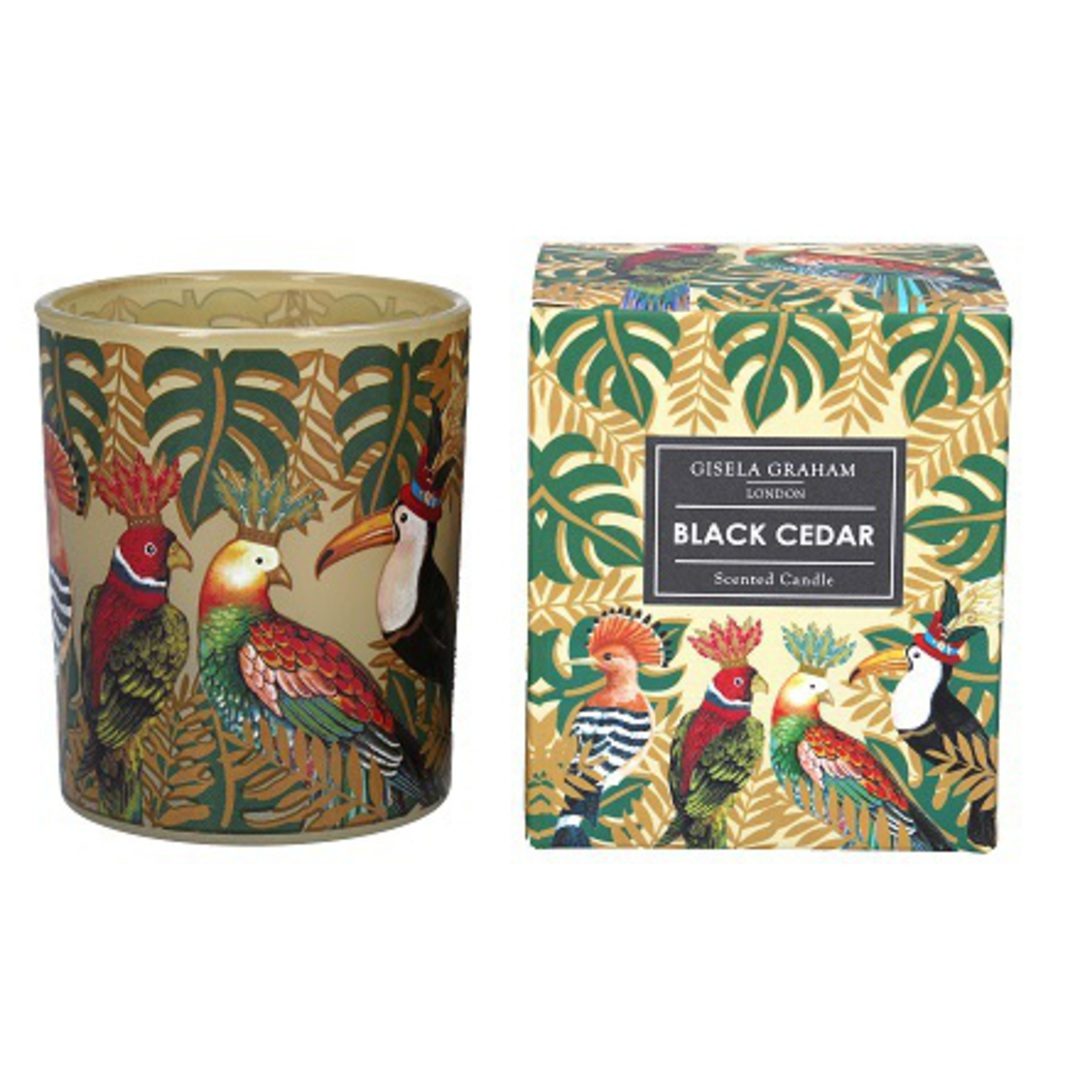 Tropical Birds Design Scented Candle Jar. Large image 0