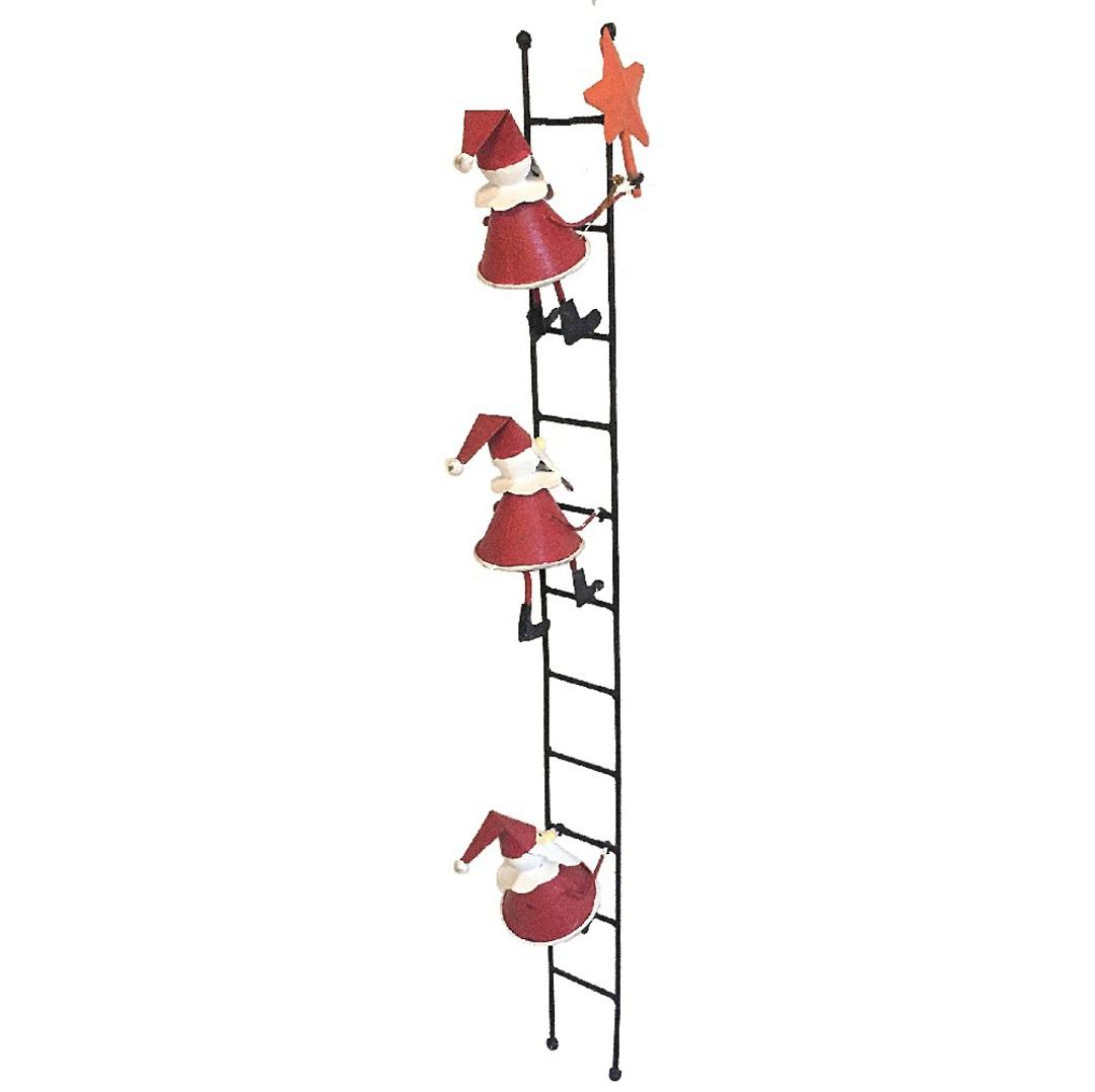 Tin Santas on Ladder Putting Star on Xmas Tree 39cm image 0