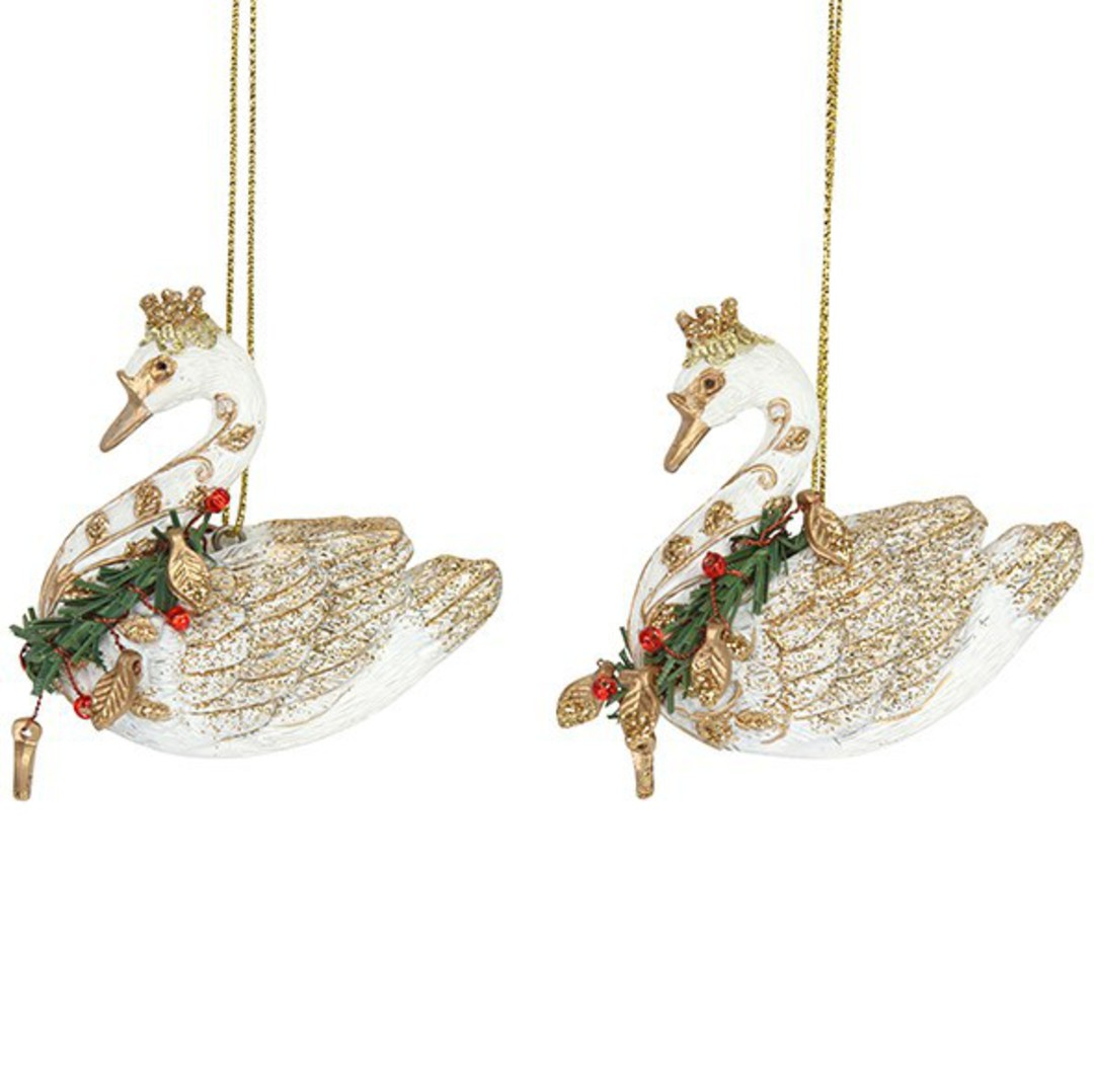 Resin Regal Swan with Wreath Collar image 0