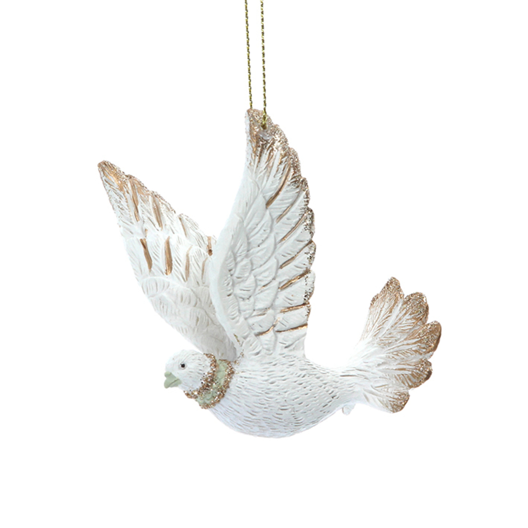 Resin Cream Gold Flying Dove 7cm image 0