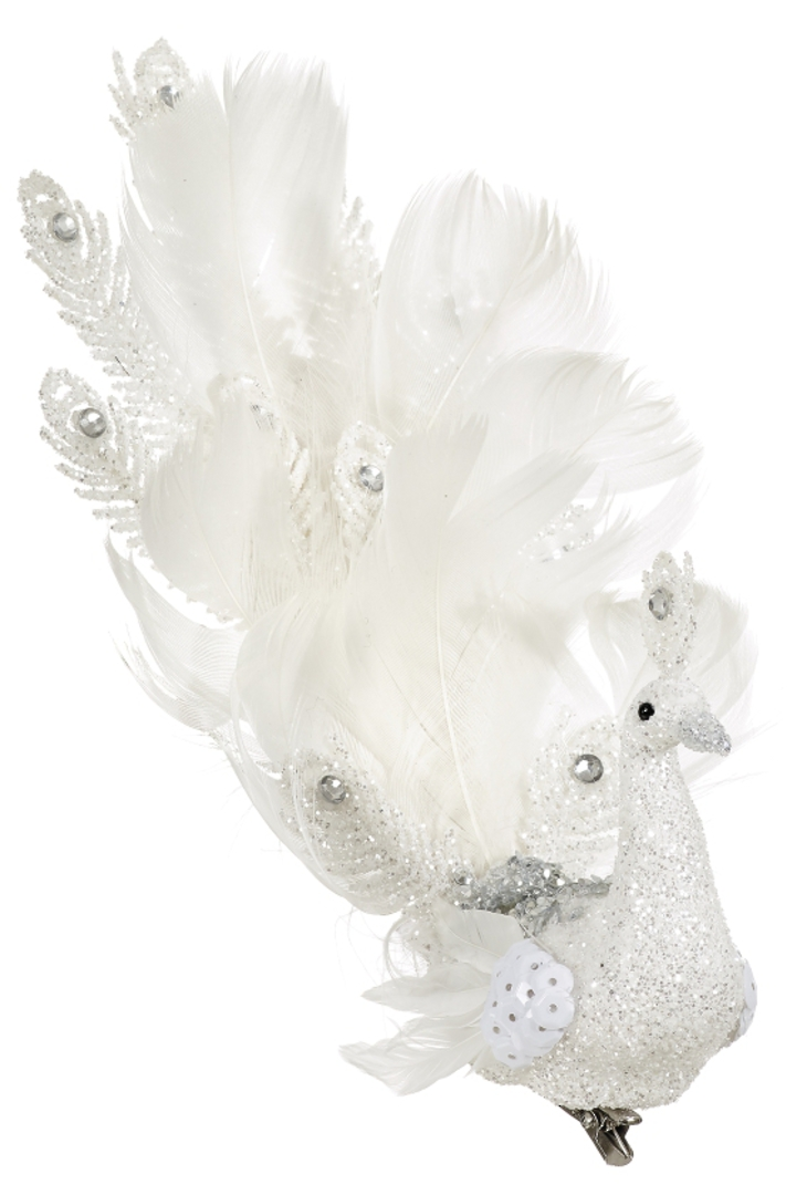 BirdClip White Glitter and White Feather Fantailed 19cm image 0