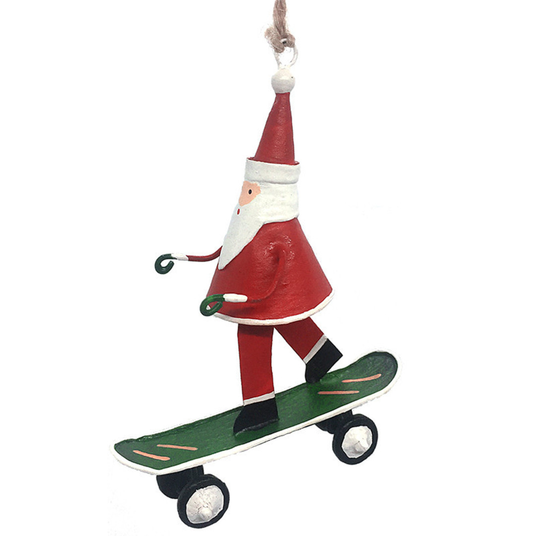 Tin Santa on Skateboard 10cm image 0