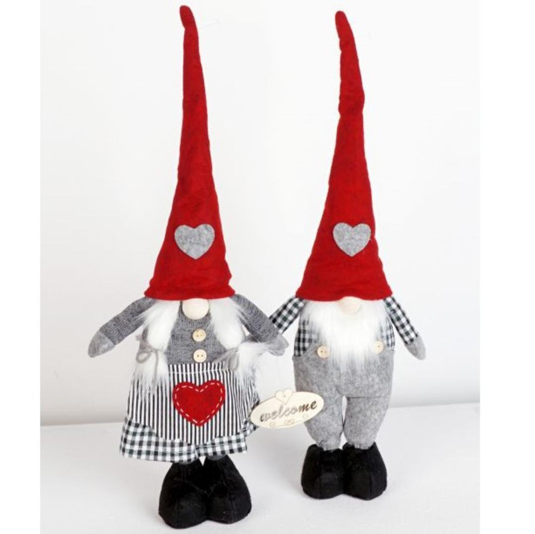 Plush Standing Gnome Black & White Check 30cm image 0