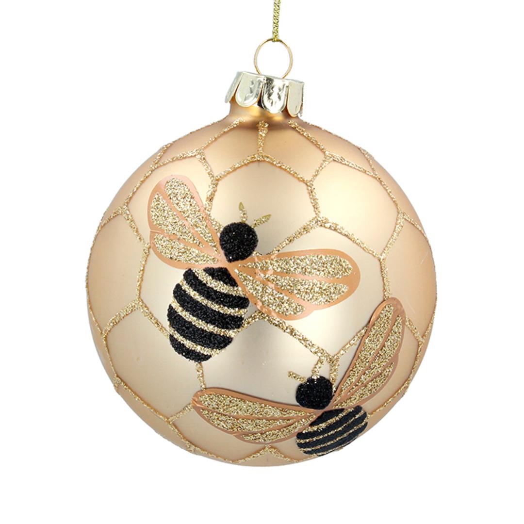 Glass Ball Matt Gold, Bee 8cm image 0