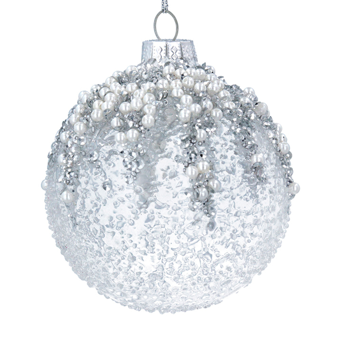 Glass Ball Clear, Silver Bead Top 8cm image 0