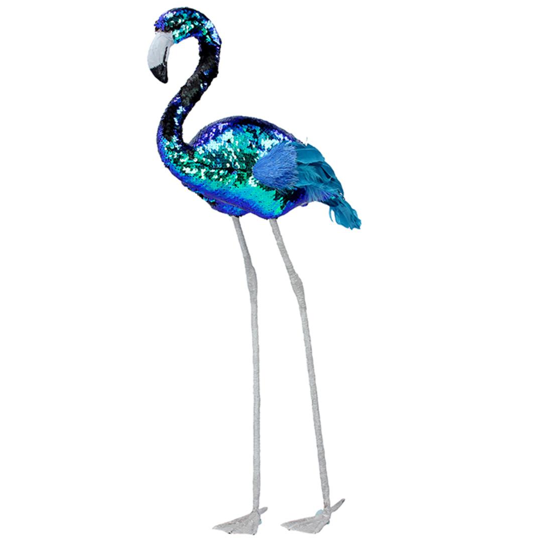 Petrol Sequin Feather Flamingo 71cm image 0