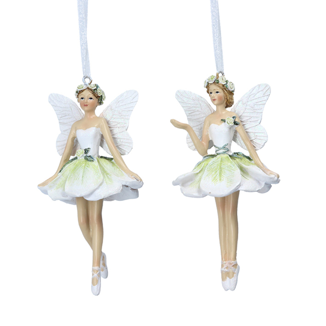 Resin White Green Flower Fairy 14cm image 0