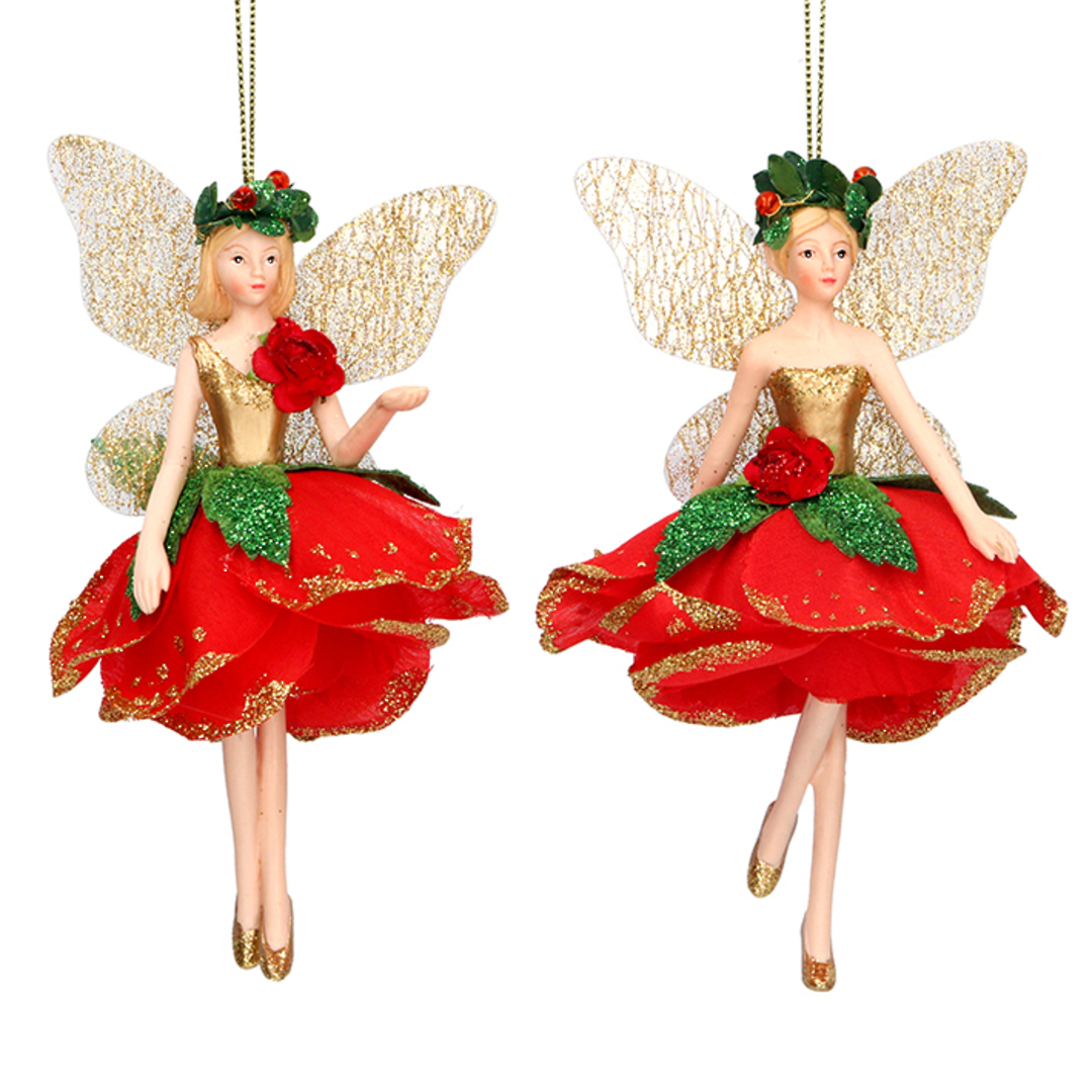 Resin Fairy Red Rose Dress 13cm image 0