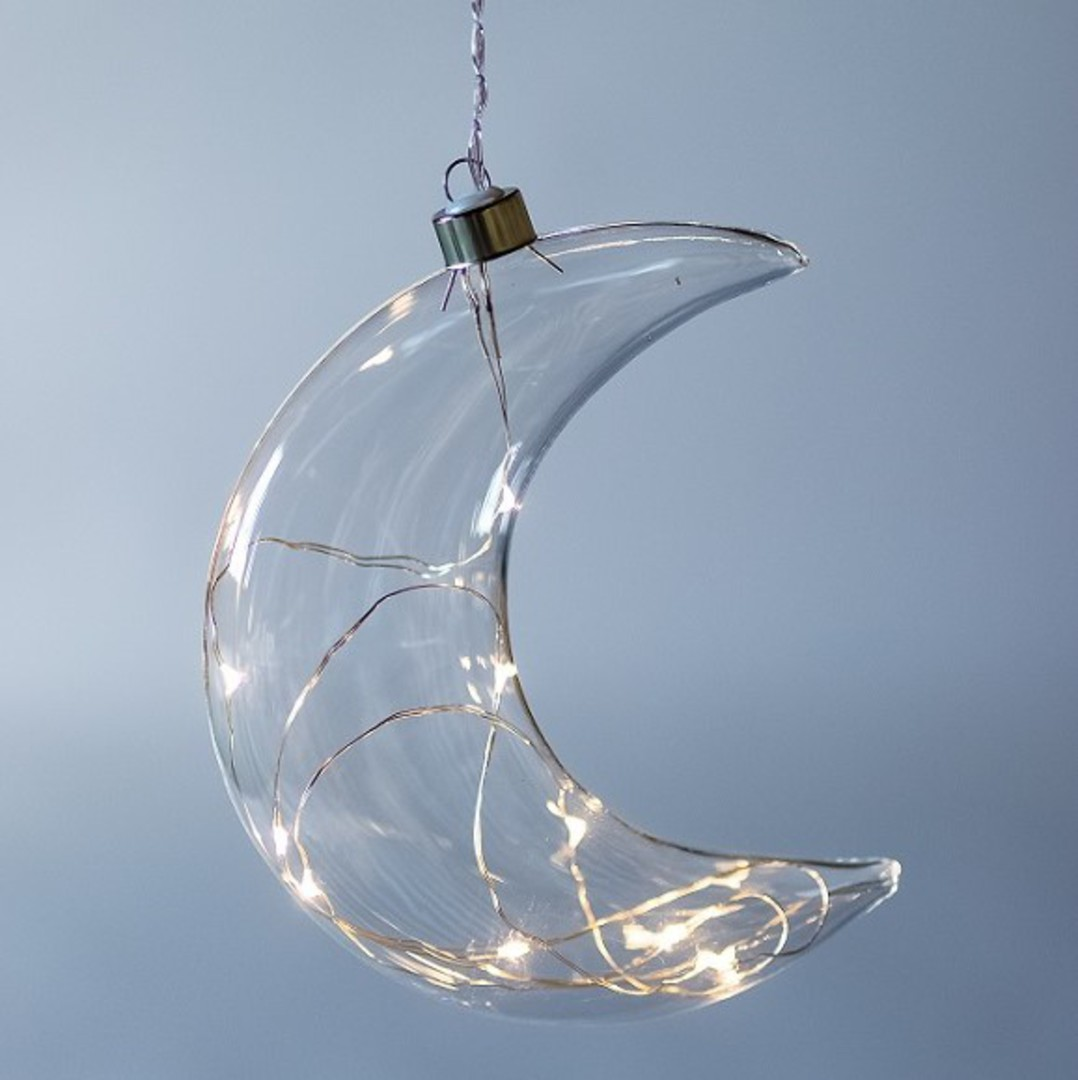 Twinkle Glass Moon, Clear 14cm image 0