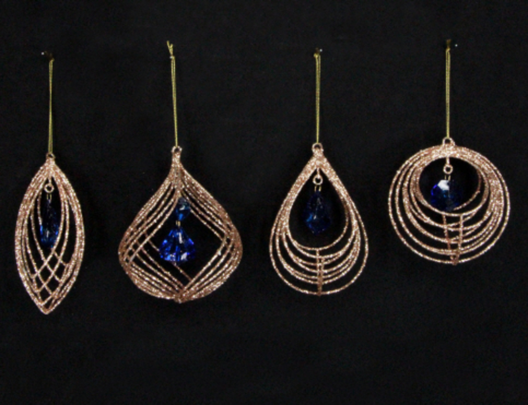 Wire Shape Gold with Blue Jewel 15cm image 0