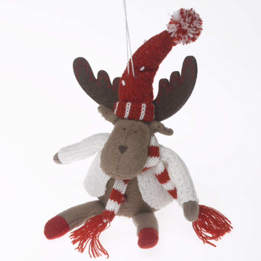 Plush Reindeer with White Cardie and Red& White Scarf and Hat 23cm image 0