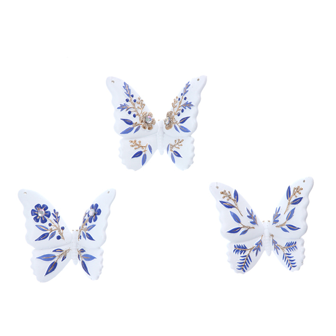 Resin White Blue Gold Butterfly 7cm image 0