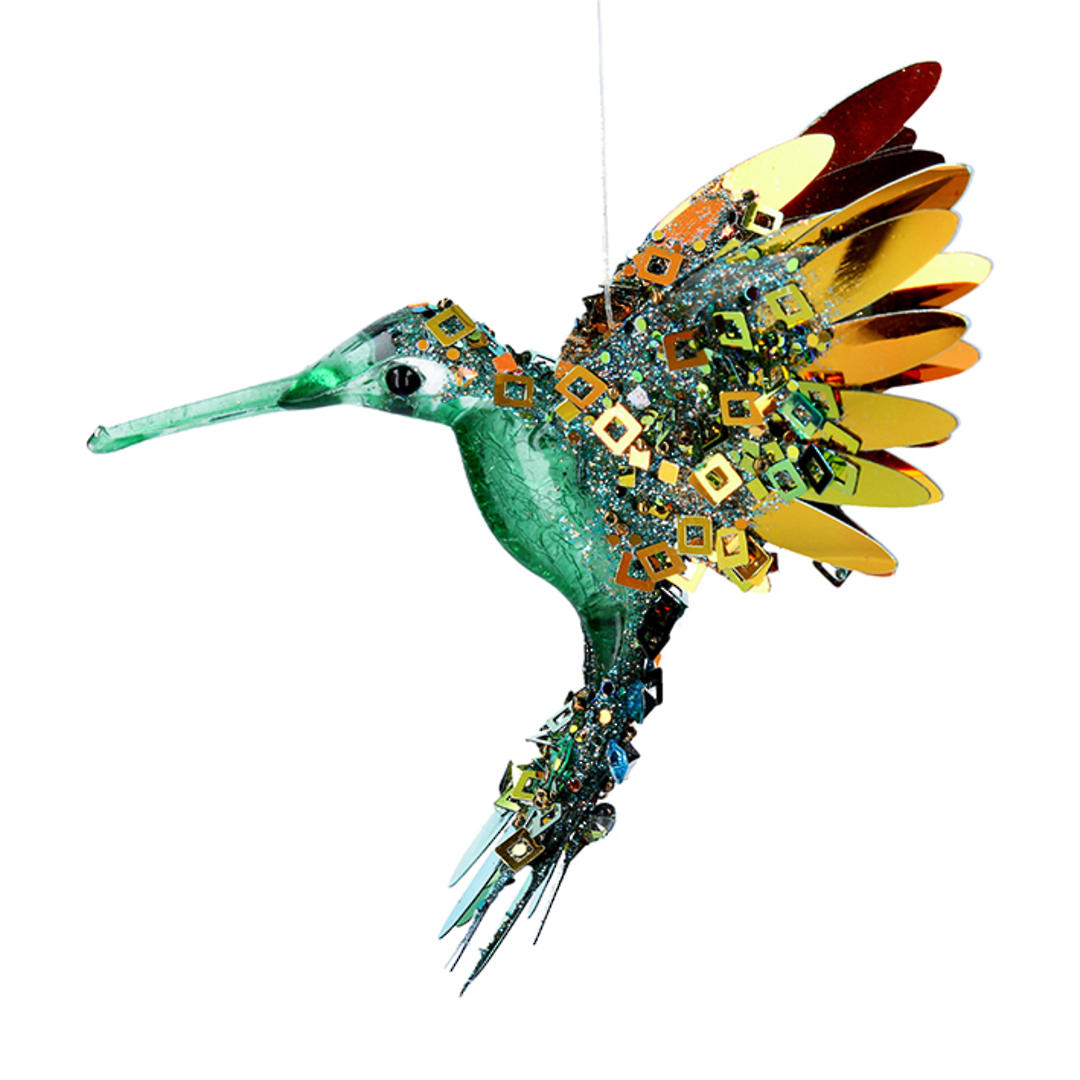 Bling Green Gold Flying HummingBird 15cm image 0