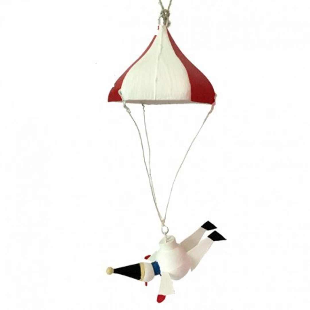 Snowman Flying Under Parachute image 0