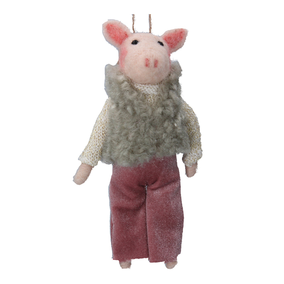 Wool Pig in 1970's Outfit 15cm image 0