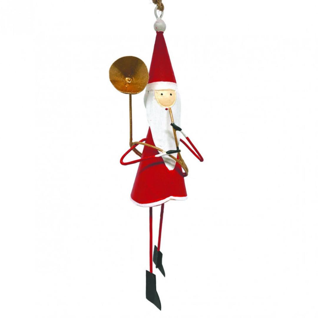 BIG Tin Santa with Trombone 25cm image 0