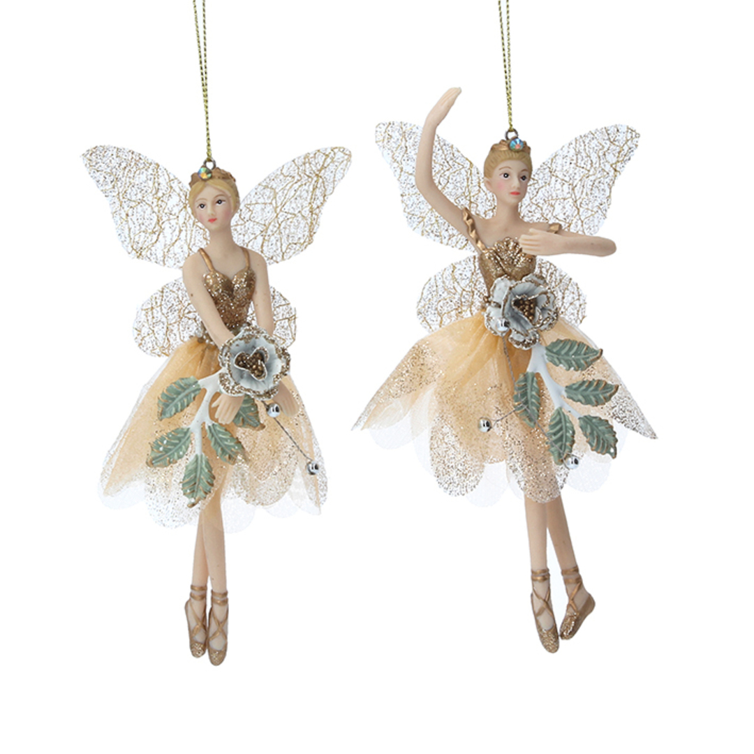 Cream Gold Leaf Rose Peace Fairy 15cm image 0