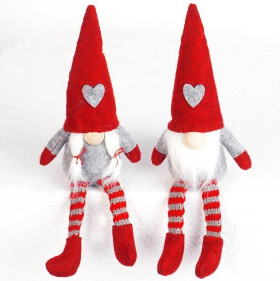 Sitting Mini Santa, Long Legs Red Hat image 0