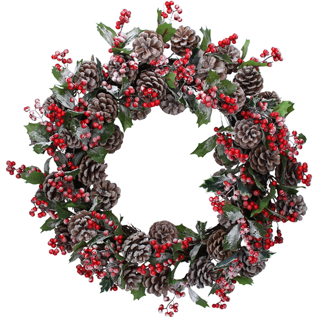 Frosted Pinecone and Red Berry Wreath 54cm image 0
