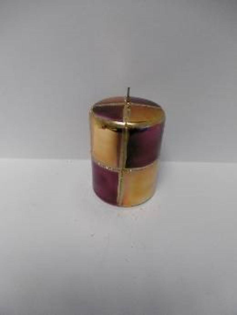 Pillar Candle 100x70mm Metallic Old Gold/ Purple and Matt Gold & Glitter image 0