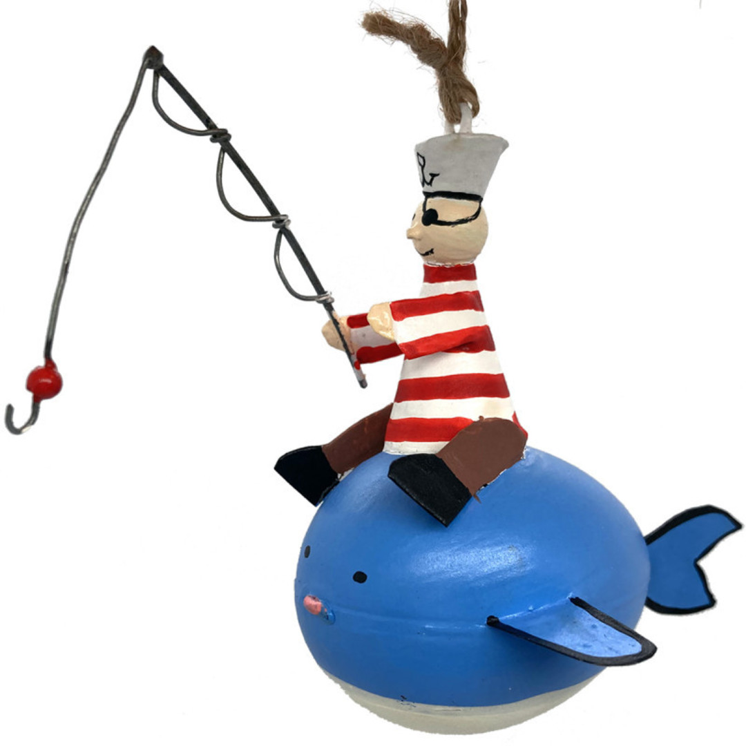 Tin Pirate Sailor Fishing on Whale 10cm image 0