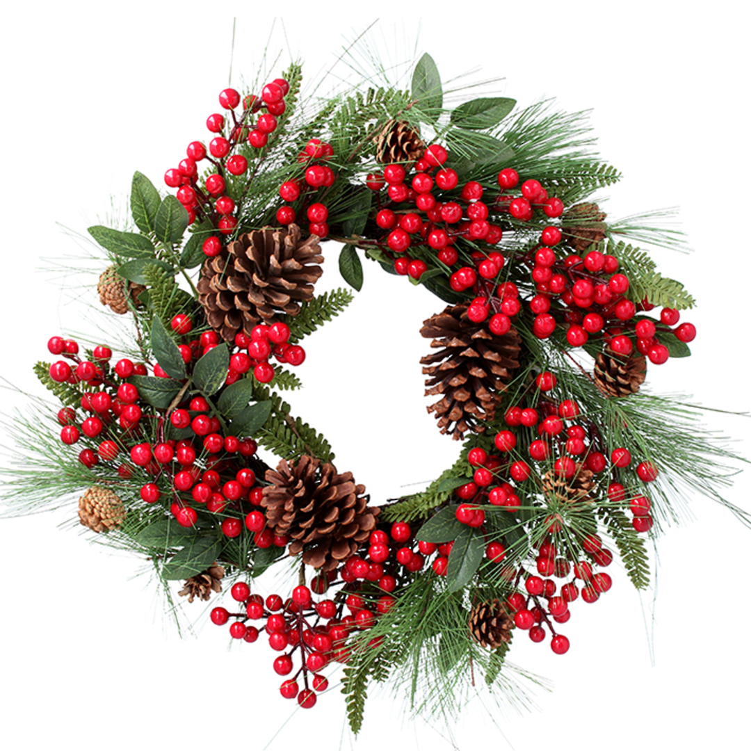 Red Berry, Pine, Fern Leaves Wreath 53cm image 0