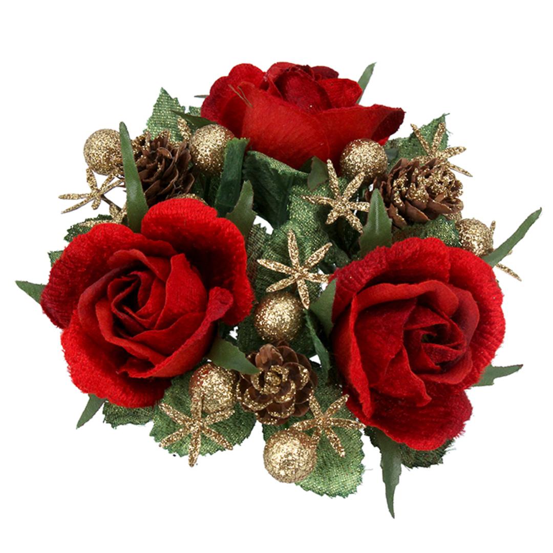 CandleRing, Red Rose 12cm image 0