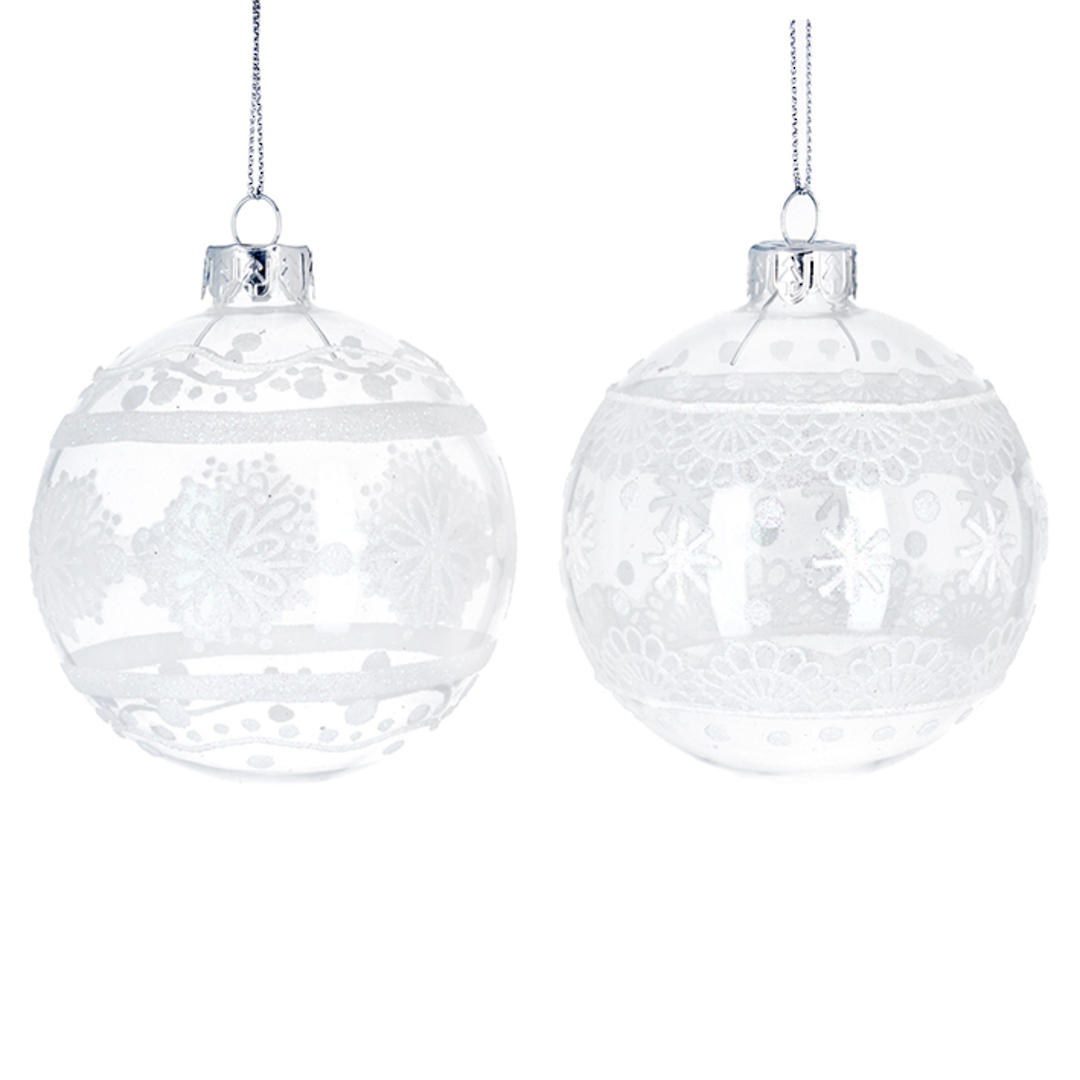 Glass Ball Clear, White Lace 8cm image 0