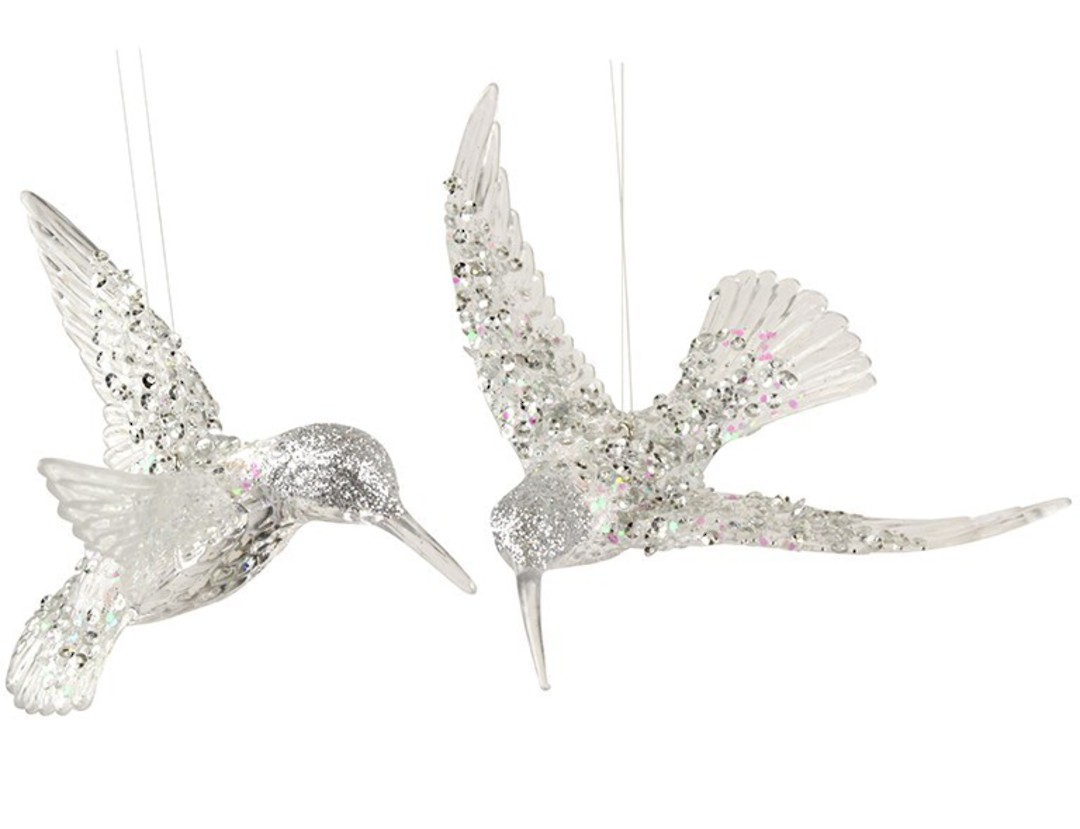 Acrylic Clear with Silver Sequins HummingBird image 0