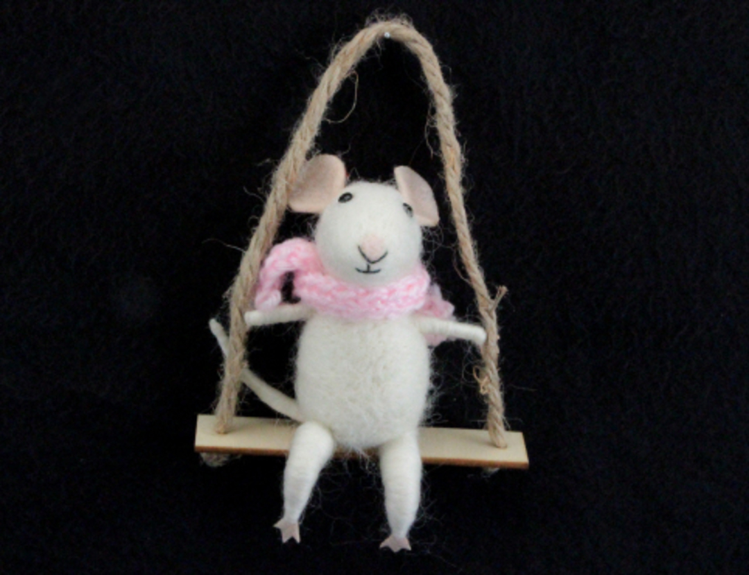 Wool Mouse on Swing 14cm image 0