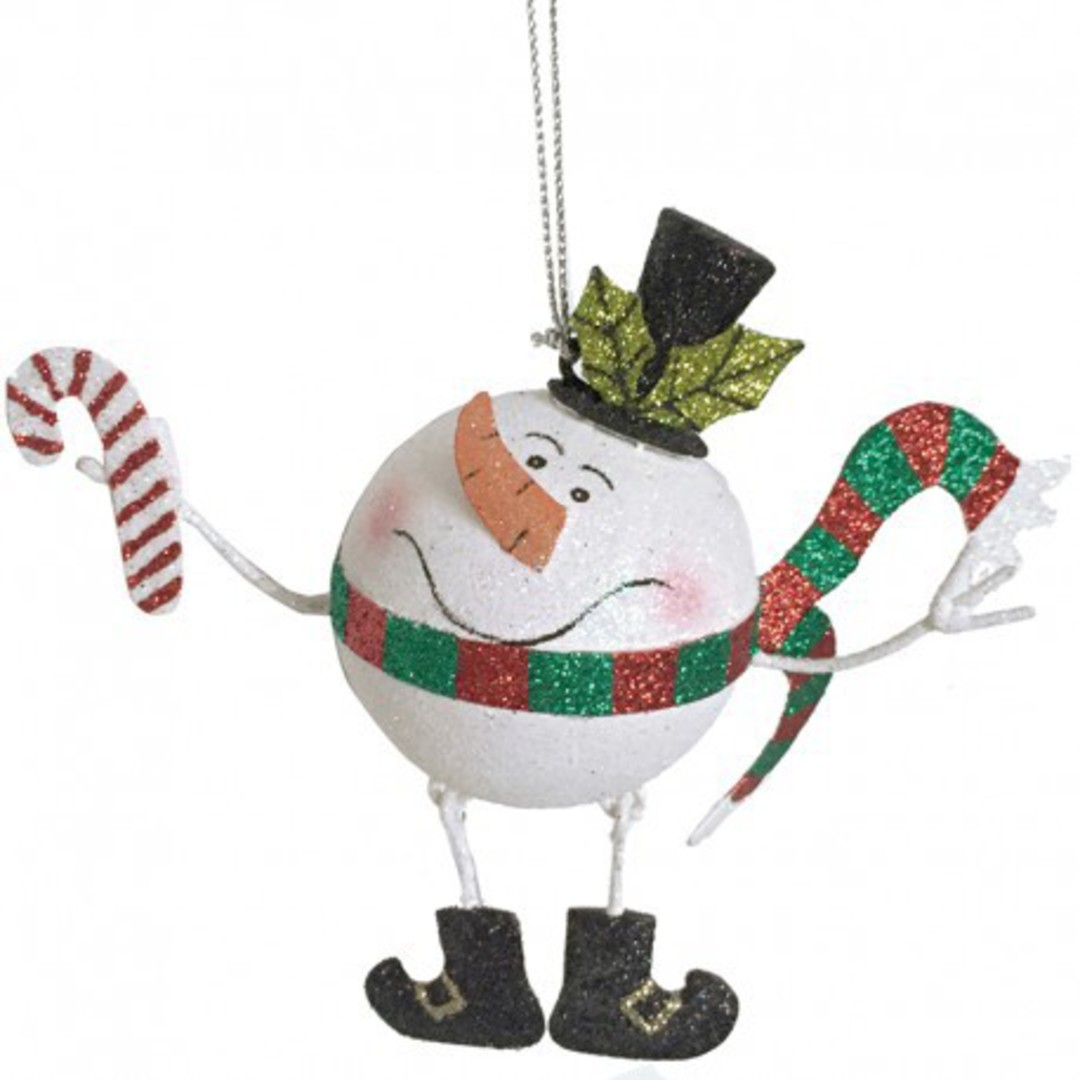Glitter Metal Snowman with Candy Cane image 0