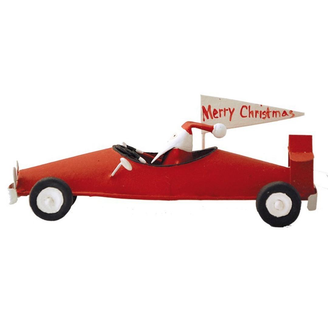 Tin Santa in Red Racing Car 7cm image 0