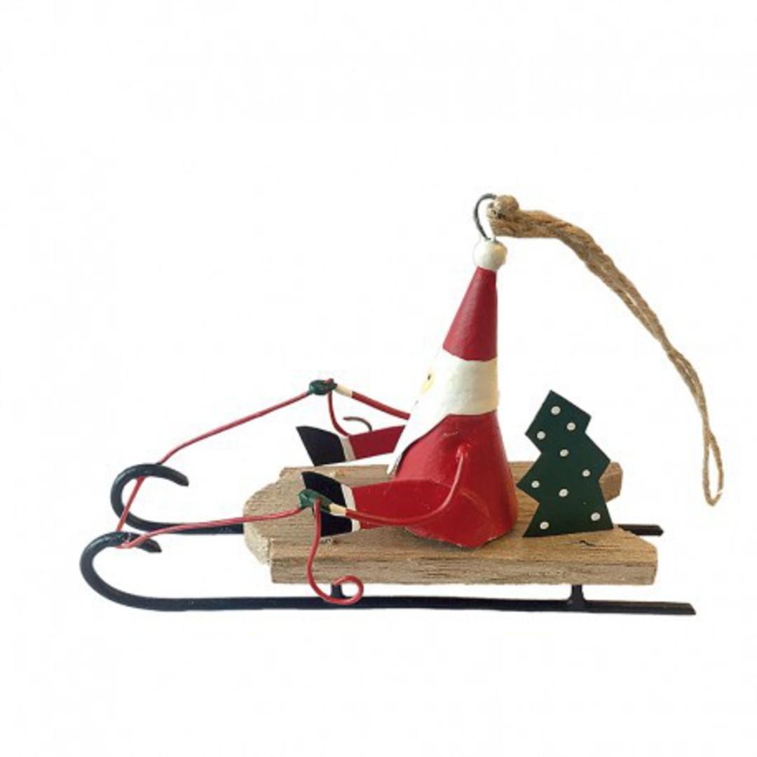 Tin Santa on Wood Sledge image 0