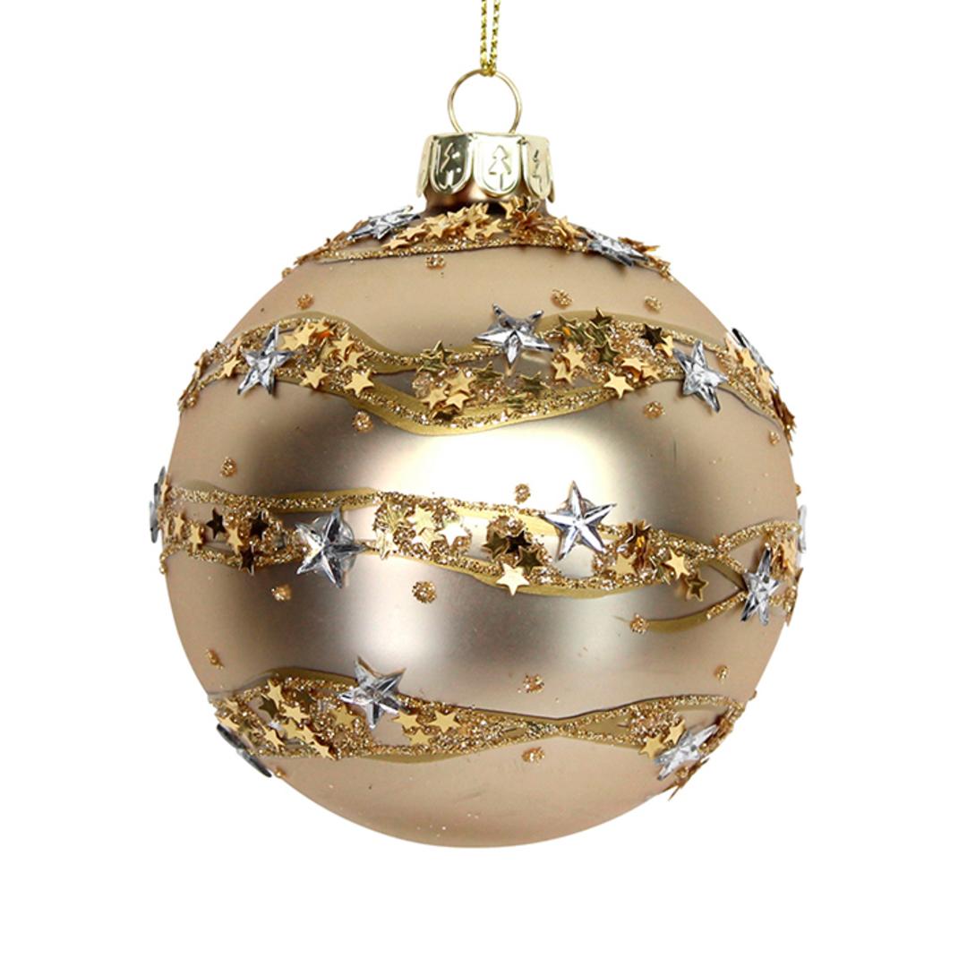Glass Ball Matt Gold, Star Band8cm image 0