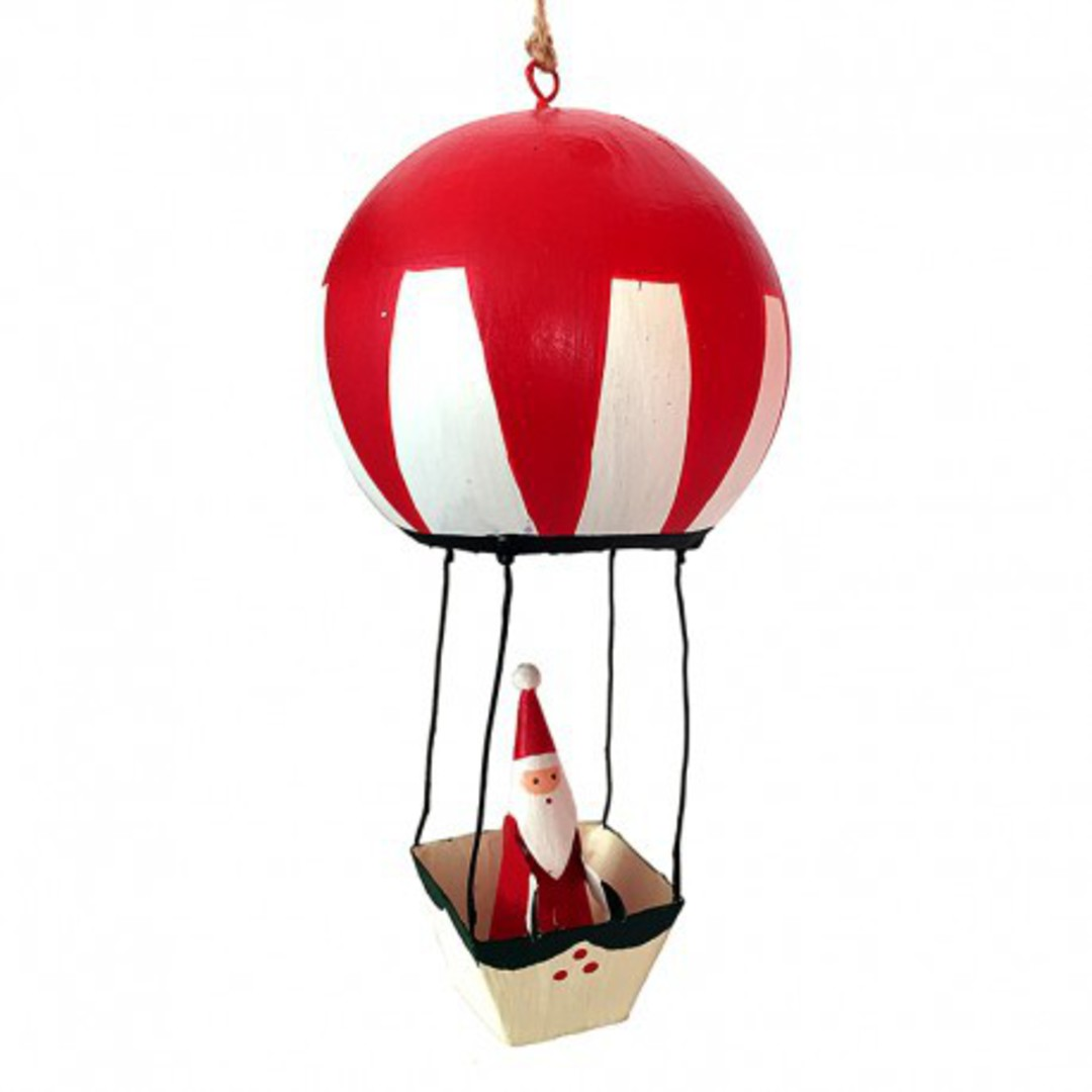 Tin Santa on Red Hot Air Balloon image 0