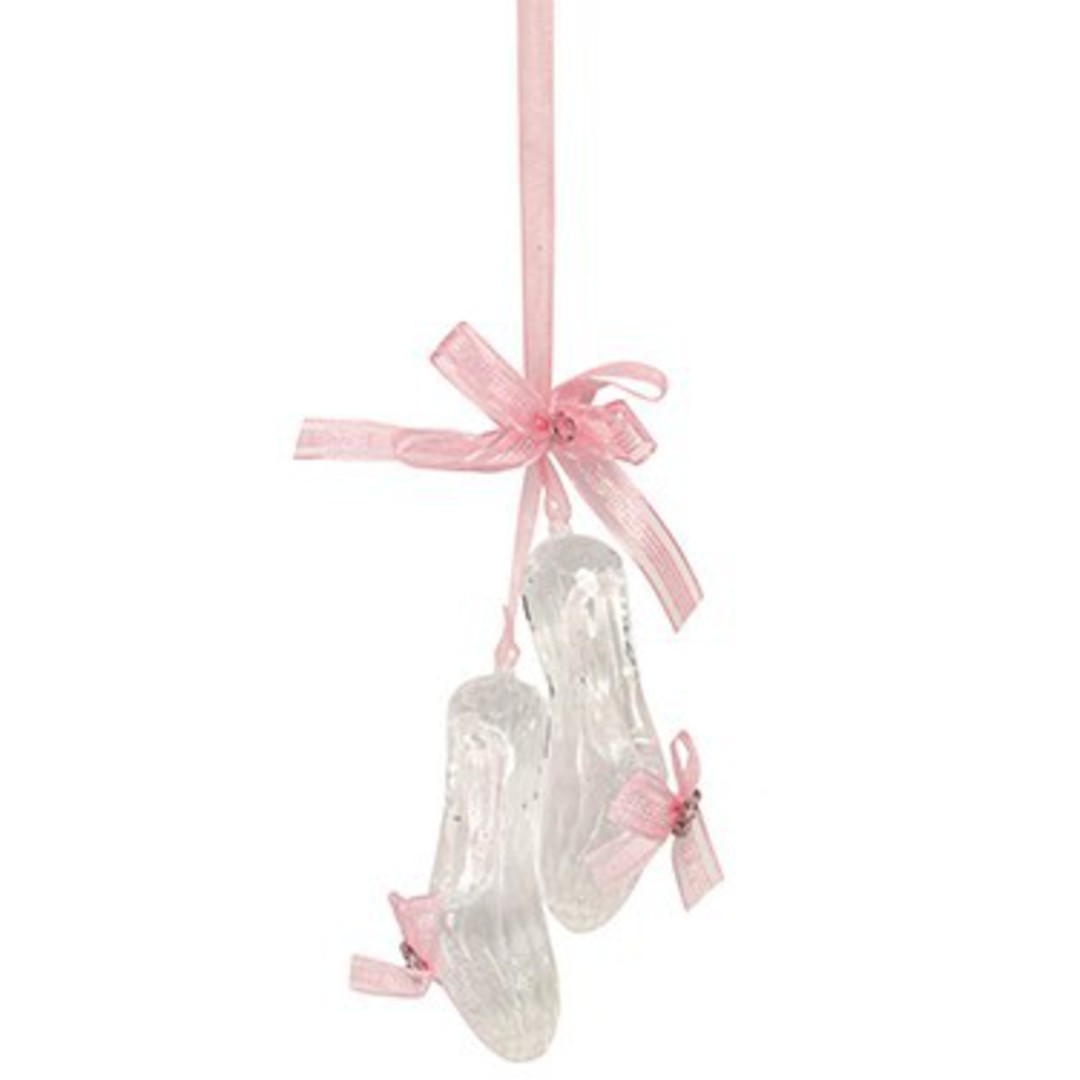 Acrylic Clear & Pink Ballet Shoes 15cm image 0