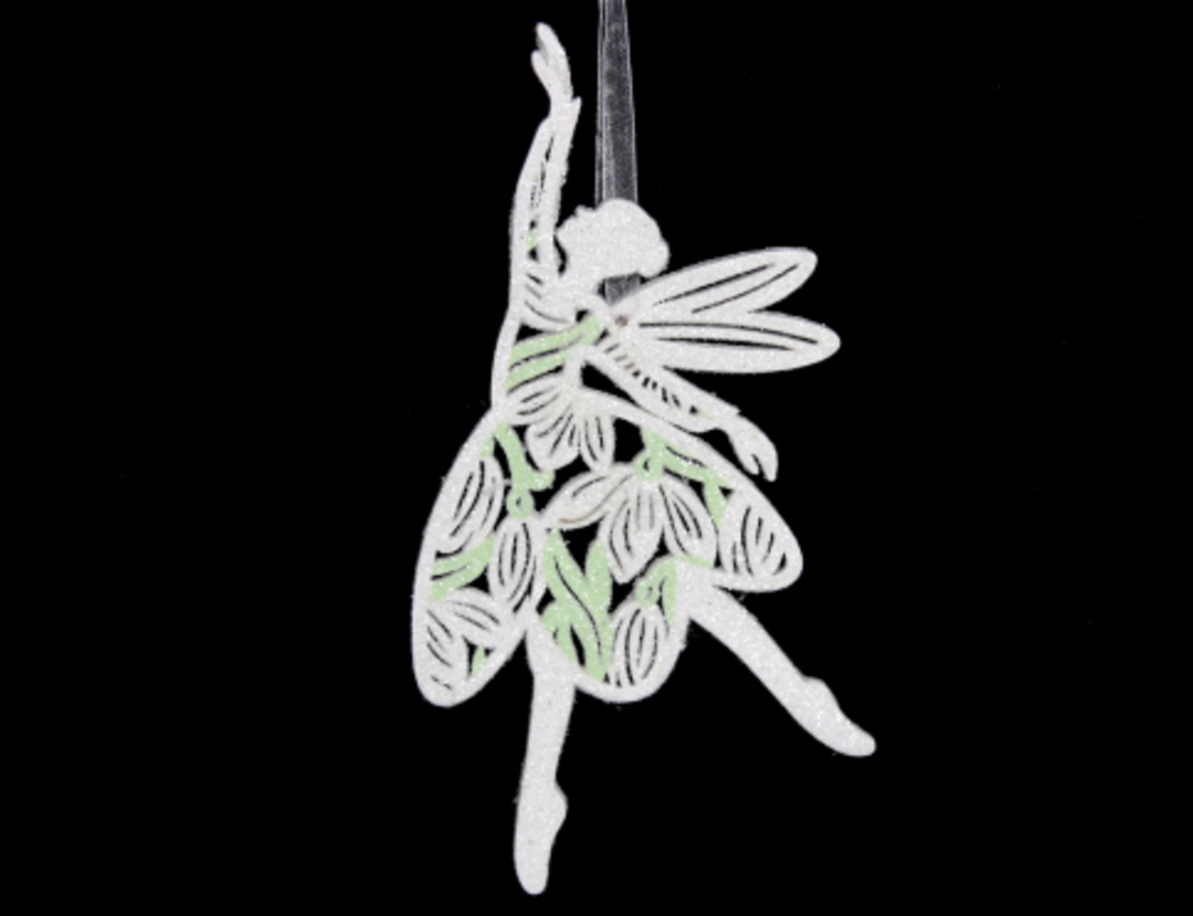Wood Fretwork Fairy with Snowdrop image 0