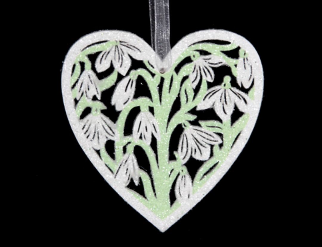 Wood Fretwork Heart with Snowdrop image 0