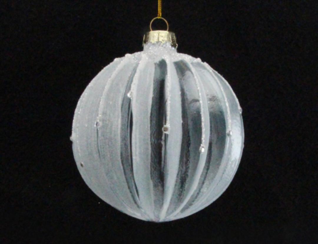Glass Ball White Clear, Rib 8cm image 0