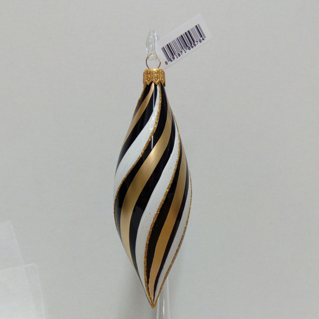 Glass Olive Black, Gold and White Spiral 17cm image 0