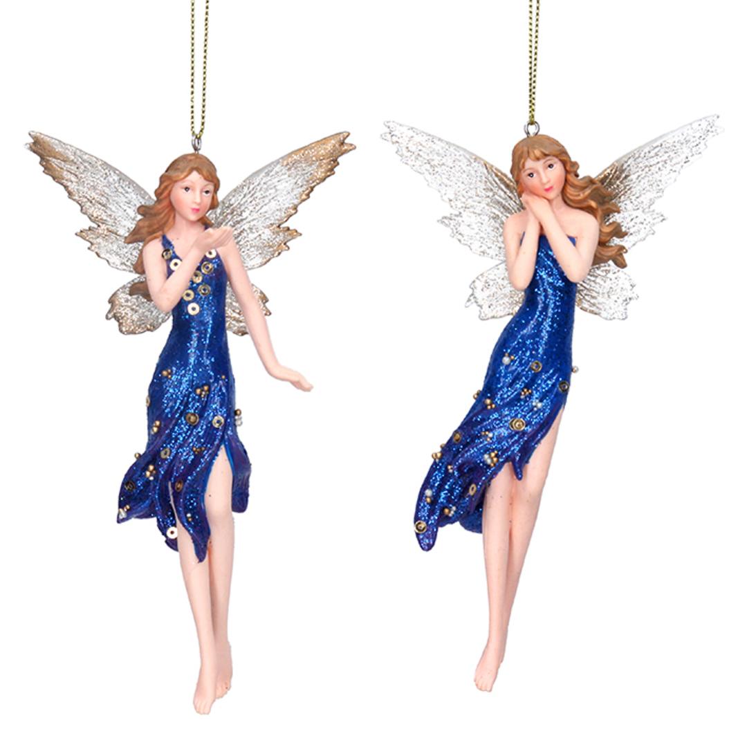 Resin Tall Blue Cobalt Fairy 15cm image 0
