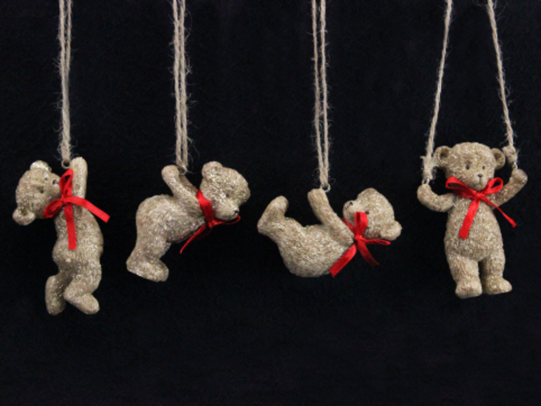 Resin Teddy with Red Bow 5cm image 0