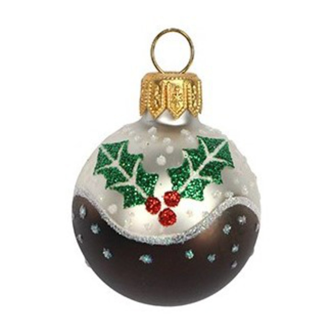 Glass Ball Mini Xmas Pudding 4cm image 0